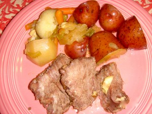 Chuck Roast with New Potatoes Roasted in a Cast Iron Pot