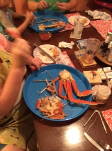 eating snow crabs